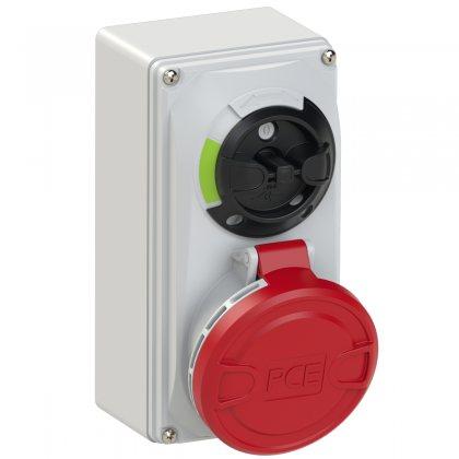 6125-6 PCE Розетка настенная 32А/400V/3P+N+E/IP44, с выключателем и блокировкой