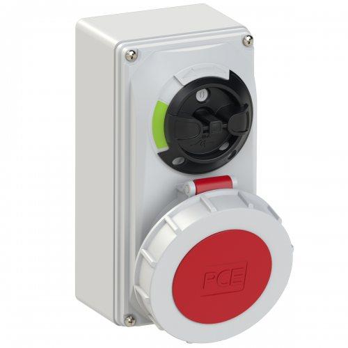 61252-6 PCE Розетка настенная 32А/400V/3P+N+E/IP67, с выключателем и блокировкой