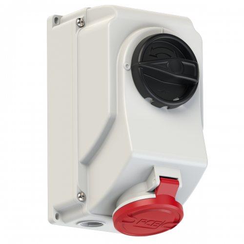 7515-6 PCE Розетка настенная 16А/400V/3P+N+E/IP44, с выключателем и блокировкой