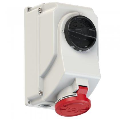 7524-6 PCE Розетка настенная 32А/400V/3P+E/IP44, с выключателем и блокировкой