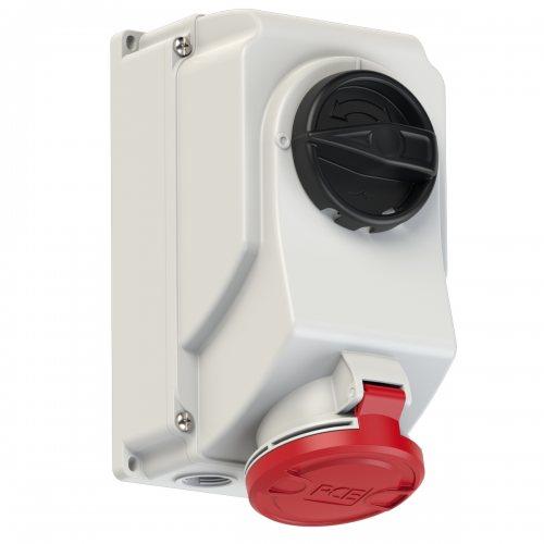 7525-6 PCE Розетка настенная 32А/400V/3P+N+E/IP44, с выключателем и блокировкой
