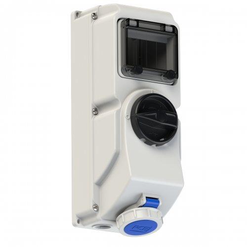 76132-6 PCE Розетка настенная 16A/230V/1P+N+E/IP67, под автоматический выключатель, с окном на 5 модулей и DIN-рейкой, для установки модульных устройств защиты