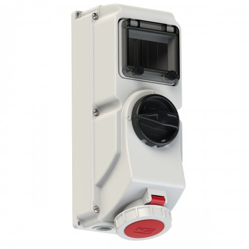 76152-6 PCE Розетка настенная 16A/400V/3P+N+E/IP67, под автоматический выключатель, с окном на 5 модулей и DIN-рейкой, для установки модульных устройств защиты