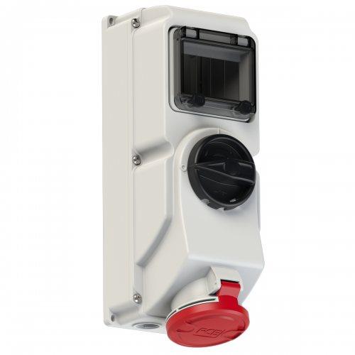 7625-6 PCE Розетка настенная 32А/400V/3P+N+E/IP44, под автоматический выключатель, с окном на 5 модулей и DIN-рейкой, для установки модульных устройств защиты