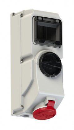 7815-6 PCE Розетка настенная с выключателем и блокировкой 16A/400V/3P+N+E/IP44, с держателем предохранителя (предохранитель не укомплектован)