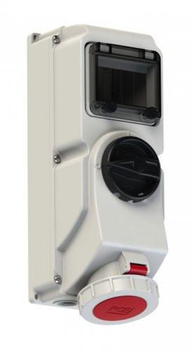 78252-6 PCE Розетка настенная с выключателем и блокировкой 32A/400V/3P+N+E/IP67, с держателем предохранителя (предохранитель не укомплектован)