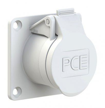 392-12v PCE Розетка встраиваемая 32А/42V/2P/IP44,фланец 70х70, никелированные контакты