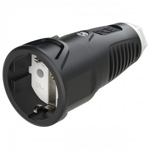 2510-sw PCE Розетка кабельная 16A/250V/2P+E/IP20 резиновый корпус черная