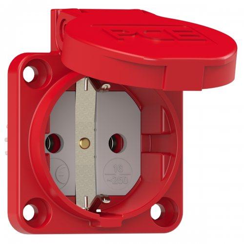 105-0r PCE Розетка встраиваемая 16A/250V/2P+E/IP54 подключение сзади 50х50 красная