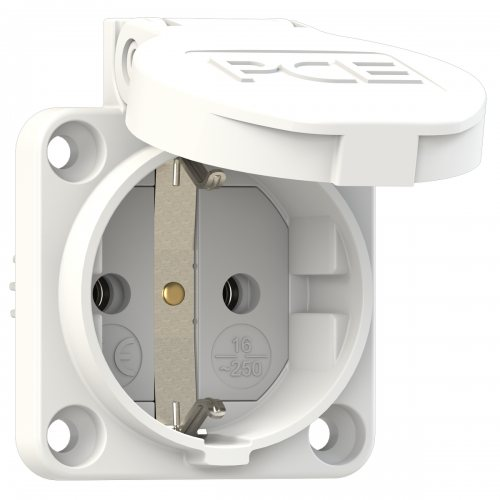 105-0ws PCE Розетка встраиваемая с/з 16A/250V/2P+E/IP44 50х50 подключение сбоку со шторками белая
