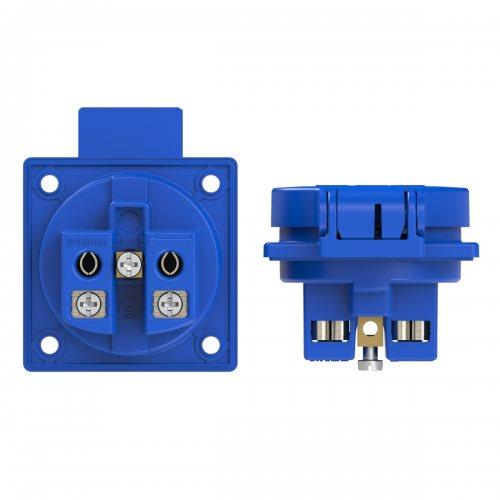 1050-0bs PCE Розетка встраиваемая 16A/250V/2P+E/IP54 50x50 подключение сбоку синяя