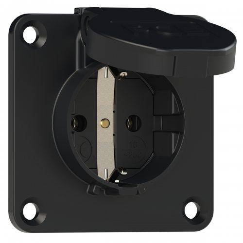 105-7s PCE Розетка встраиваемая 16A/250V/2P+E/IP54 70x70 черная