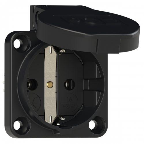 105-0s PCE Розетка встраиваемая 16A/250V/2P+E/IP54 50х50 подключение сзади черная