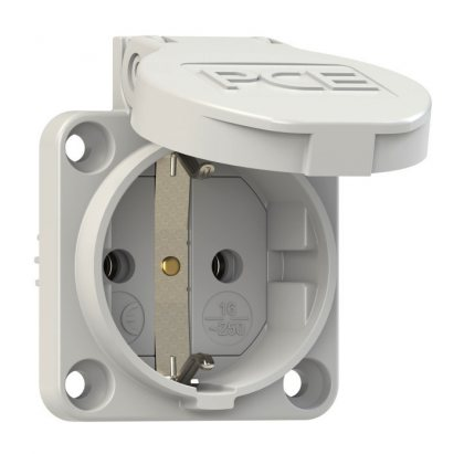 105-0g PCE Розетка встраиваемая с/з 16A/250V/2P+E/IP54 подключение сзади 50х50 серая