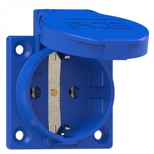 1050-0b PCE Розетка встраиваемая 16А/250V/2P+E/IP54 50x50 подключение сзади синяяя