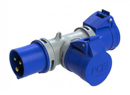94325103 PCE T-коннектор 2-х розеточный с вводной вилкой 16A/230V/2P+E/IP44
