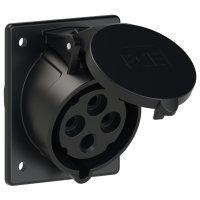424-6x PCE Розетка встраиваемая наклонная 32А/400V/3P+E/IP44, черная, фланец 80x97
