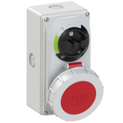 61252-6k PCE Розетка настенная 32А/400V/3P+N+E/IP67, с выключателем и блокировкой