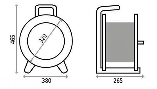 K325N2TFI HEDI Удлинитель на катушке из пластика D=320мм/3GS/IP44/25м H07RN-F3G2,5/УЗО/термозащита