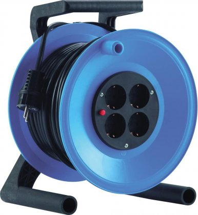 K0Y25PT HEDI Удлинитель на катушке из пластика D=255мм/4GS/IP20/25м H05VV-F3G1,5/термозащита