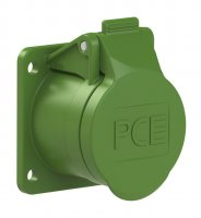 383-2f9v PCE Розетка встраиваемая 16А/24-42V/2P+E/IP44, фланец 54х60, никелированные контакты