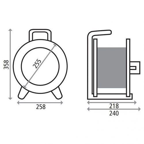 K1S50GTF HEDI Удлинитель на катушке из металла D=255мм/3GS/IP44/50м H05RR-F3G1,5/термозащита
