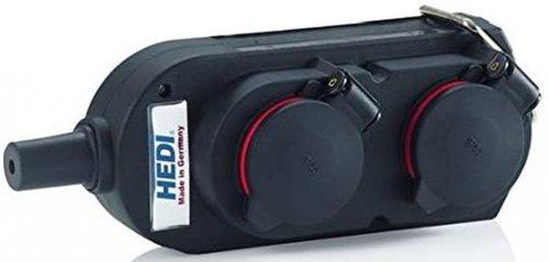 9043 HEDI Колодка подв., 4-Shuko 16А/230V/1P+N+E/IP44 с крышками, черная