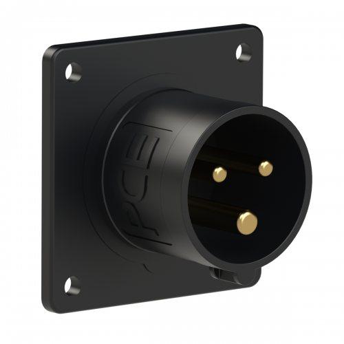 613-6ttx PCE Вилка встраиваемая 16А/230V/1P+N+E/IP44, черная, безвинтовое подключение