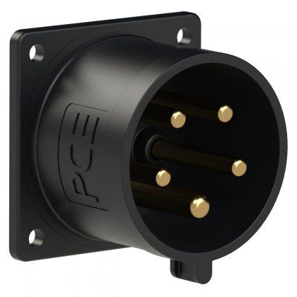 625-6ttx PCE Вилка встраиваемая 32А/400V/3P+N+E/IP44, черная, безвинтовое подключение