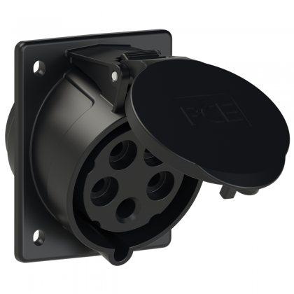 425-6ttx PCE Розетка встраиваемая наклонная 32А/400V/3P+N+E/IP44, черная, фланец 80x97, безвинтовое подключение