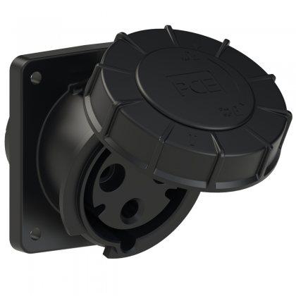 433-6xs PCE Розетка встраиваемая наклонная 63А/230V/1P+N+E/IP67, черная, фланец 100x112