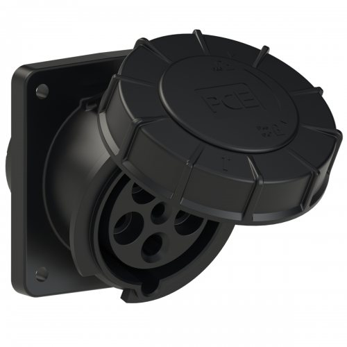 435-6xs PCE Розетка встраиваемая наклонная 63А/400V/3P+N+E/IP67, черная, фланец 100x112