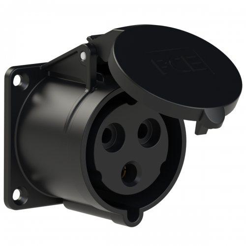 323-6x PCE Розетка встраиваемая 32А/230V/1P+N+E/IP44, черная, фланец 70x70