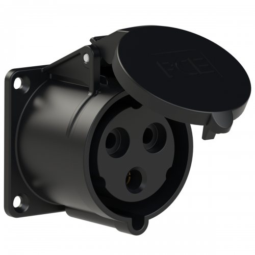 323-6ttx PCE Розетка встраиваемая 32А/230V/1P+N+E/IP44, черная, фланец 70x70, безвинтовое подключение