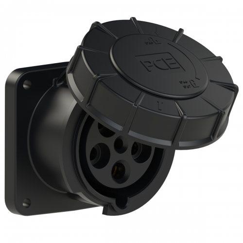 335-6xs PCE Розетка встраиваемая 63А/400V/3P+N+E/IP67, черная, фланец 100x100