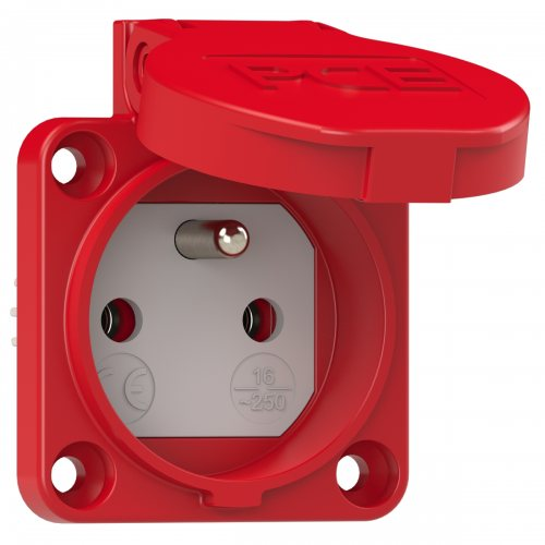 104-0r PCE Розетка встр 16А/250V/2P+E/IP54 50x50 подключение сзади франко-бельгийский стандарт красная