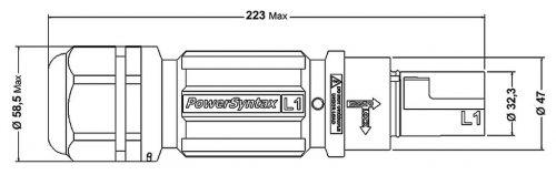 SPX4LD3GY095MP SPX 400А вилка кабельная L3, серая