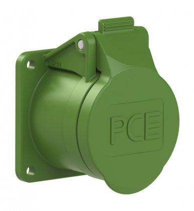 382-3f5v PCE Розетка встраиваемая 16А/24-42V/2P/IP44, фланец 55х55,никелированные контакты