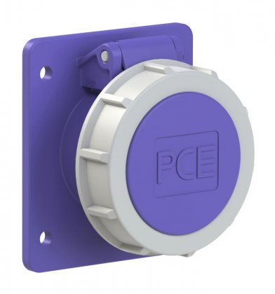 3722f87v PCE Розетка встраиваемая 32А/24V/2P/IP67, фланец 75х85, никелированные контакты