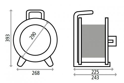 K2Y40N2TF HEDI Удлинитель на катушке из пластика D=290мм/3GS/IP44/40м H07RN-F3G2,5/термозащита