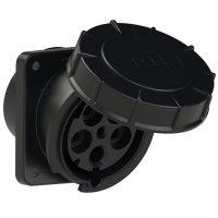 445-6xs PCE Розетка встраиваемая наклонная 125А/400V/3P+N+E/IP67, черная, фланец 120x130
