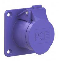 372v PCE Розетка встраиваемая 32A/24V/2P/IP44,фланец 70х70, никелированные контакты