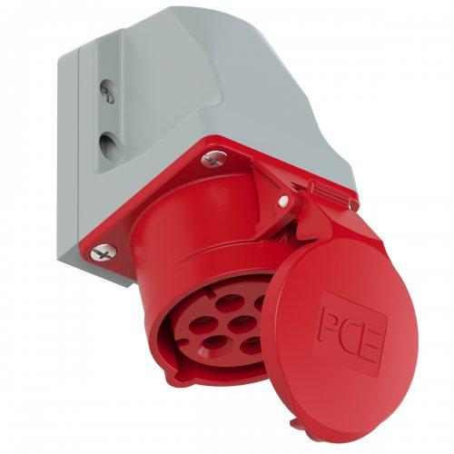 117-6v PCE Розетка настенная 16A/400V/6P+E/IP44, никелированные контакты