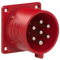 627-6v Вилка встраиваемая 32A/400V/6P+E/IP44, фланец 70x70, никелированные контакты