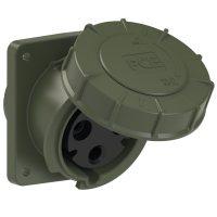 433-6.u PCE Розетка встраиваемая наклонная 63А/230V/1P+N+E/IP67, фланец 100x112, бронзово-зелёный