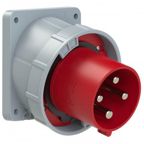 744-6 PCE Вилка встраиваемая наклонная 125A/400V/3P+E/IP67, фланец 120x130