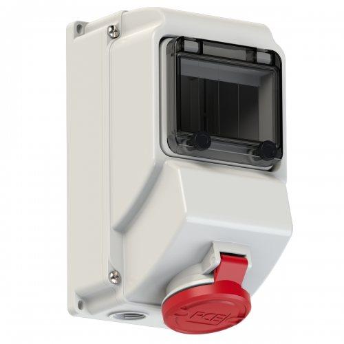 75143-6 PCE Розетка настенная 16А/400V/3P+E/IP44 никелированные контакты, окно 5 модулей, DIN-рейка