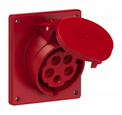 415-6f9 PCE Розетка встраиваемая наклонная 16А/400V/3P+N+E/IP44/54, фланец 92x100