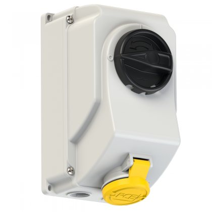 7513-4 PCE Розетка настенная с выкл и блокир 16А/110V/1P+N+E/IP44