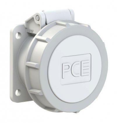 3822-10f9v PCE Розетка встраиваемая 16A/24-42V/2P/IP67, безвинтовое подключение, фланец 54x60